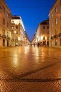 Rua Augusta Street at night in Lisbon Stock Photos