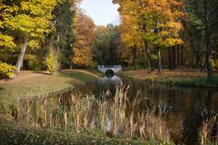 Autumn at Royal Lazienki Gardens in Warsaw Stock Photos