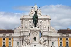 King Jose I Statue and Rua Augusta Arch in Lisbon Stock Photos