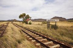 Deserted railroad siding, Eastern Cape Karoo, South Africa Stock Photos