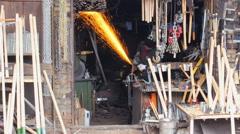 SAFRANBOLU, TURKEY: Blacksmith worker at workshop Stock Footage