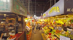 SPAIN, POV, walking on Barcelona famous Boqueria market, steadicam. Stock Footage