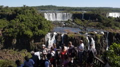 Tourists Visiting Iguazu Falls, Foz do Iguacu, Brazil Stock Footage