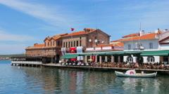 AYVALIK, TURKEY: daily life marina seaside Stock Footage