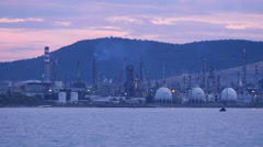 Stock Video Footage of IZMIR, TURKEY: view of Aliaga oil refinery