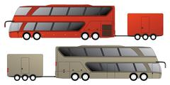 Double decker bus with attached trailer - stock illustration