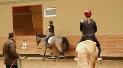 AKYAKA - TURKEY: woman learning horse riding Stock Footage