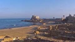 Sunrise in Caesarea Stock Footage