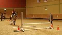 AKYAKA - TURKEY: Advance horse riding course, jumping practice - stock footage