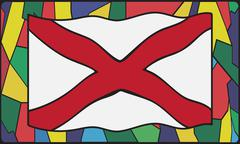 Alabama Flag On Stained Glass Stock Illustration