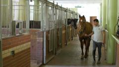 AKYAKA - TURKEY: stableman return horse to stables Stock Footage