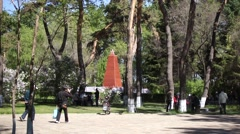 Soviet Red Army memorial in park of Heihe (China) - stock footage