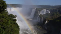 Rainbow at Iguazu Falls, on the Border of Brazil and Argentina - stock footage