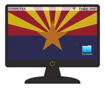 Arizona Computer Flag With On Button - stock illustration