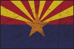 Arizona Flag Grunged - stock illustration