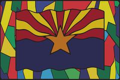 Arizona Flag On Stained Glass - stock illustration
