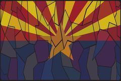 Arizona Stained Glass Window - stock illustration