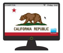 California Computer Flag With On Button - stock illustration