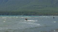 AKYAKA, TURKEY: Kitesurfer Kite Surfing at sea Stock Footage