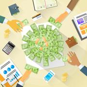 Money on Desk Hands Business People Group Crowd Funding - stock illustration
