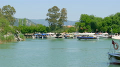 DALYAN, TURKEY: boat tour river reeds, historical Stock Footage