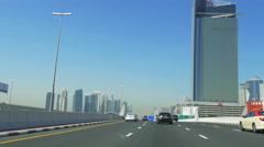 Day light dubai city main road trip traffic 4k uae Stock Footage