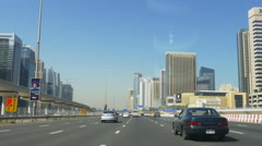 Day time dubai marina sheikh zayed road traffic car ride 4k uae Stock Footage
