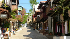 KAS, ANTALYA, TURKEY: Shops at narrow streets Stock Footage