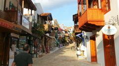 KAS, ANTALYA, TURKEY: Shops at narrow streets - stock footage
