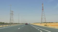 Hot day uae road trip desert traffic 4k Stock Footage