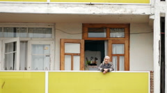 BATUMI CITY, BATUM, GEORGIA: old woman at home Stock Footage