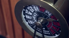 Antique engine room telegraph from ship - stock footage