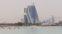 Summer time day light dubai famous hotel beach life 4k uae Stock Footage