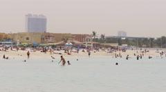 Dubai city day light beach life sea time 4k uae Stock Footage