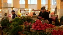 BATUMI, GEORGIA: local georgian seller at market Stock Footage