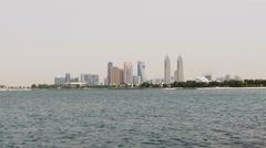 Dubai city palm view on tecom famous building tower 4k uae Stock Footage