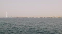 Dubai city palm pier beach bay panorama 4k uae Stock Footage