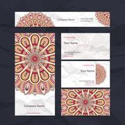 Business Cards. Vintage decorative elements - stock illustration
