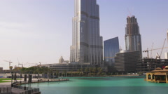 summer time day light dubai mall world highest building view 4k uae - stock footage