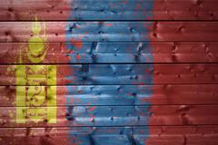 Painted mongolian flag on a wooden texture Stock Photos