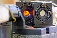 Red laser in laboratory Stock Photos