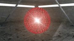 Rotating red ball created from 3D elements. abstract background Stock Footage
