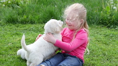Beautiful little girl playing with the puppies in nature Stock Footage