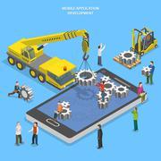 Mobile app development flat isometric vector Piirros