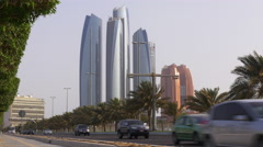abu dhabi famous beach bay skyscrapers traffic road view 4k uae - stock footage