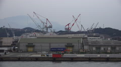 Cranes At Seaport Harbor In Shimonoseki Japan On Foggy Day Stock Footage