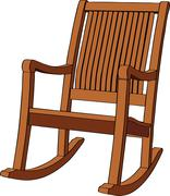Wooden rocking armchair - stock illustration