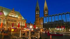 Market Square, City Hall and the Cathedral of Bremen, Germany Stock Footage