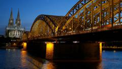 Gothic Cathedral and iron bridge across Rhine river Stock Footage