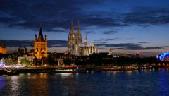 Dom of Cologne at night. Cologne, Germany Stock Footage